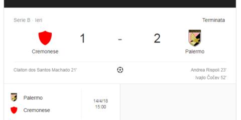 Zona Vostra Palermo batte Cremonese 2-1