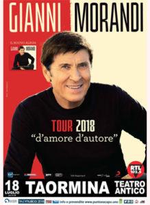 Gianni Morandi-Tour 2018 d'amore d'autore 18 Luglio 2018 - Taormina